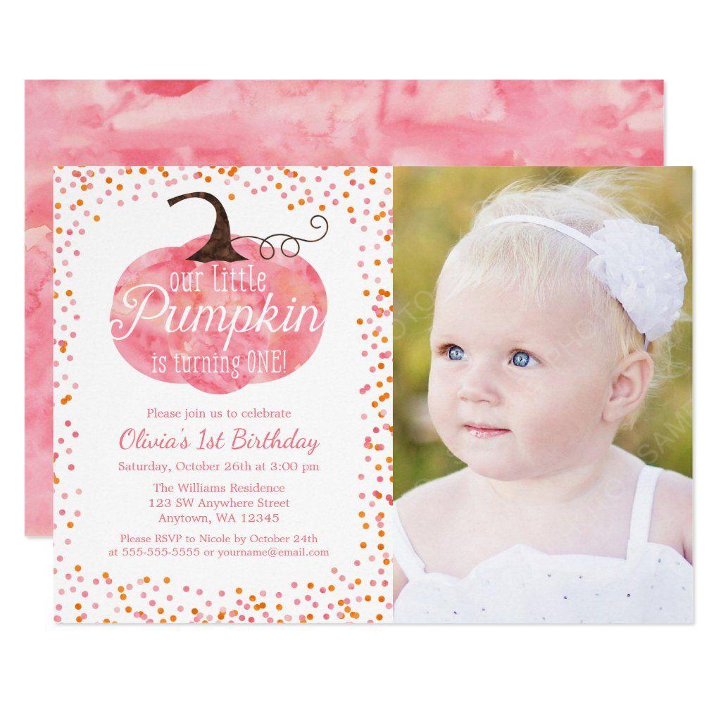 Watercolor Pumpkin Confetti Girl First Birthday Invitation