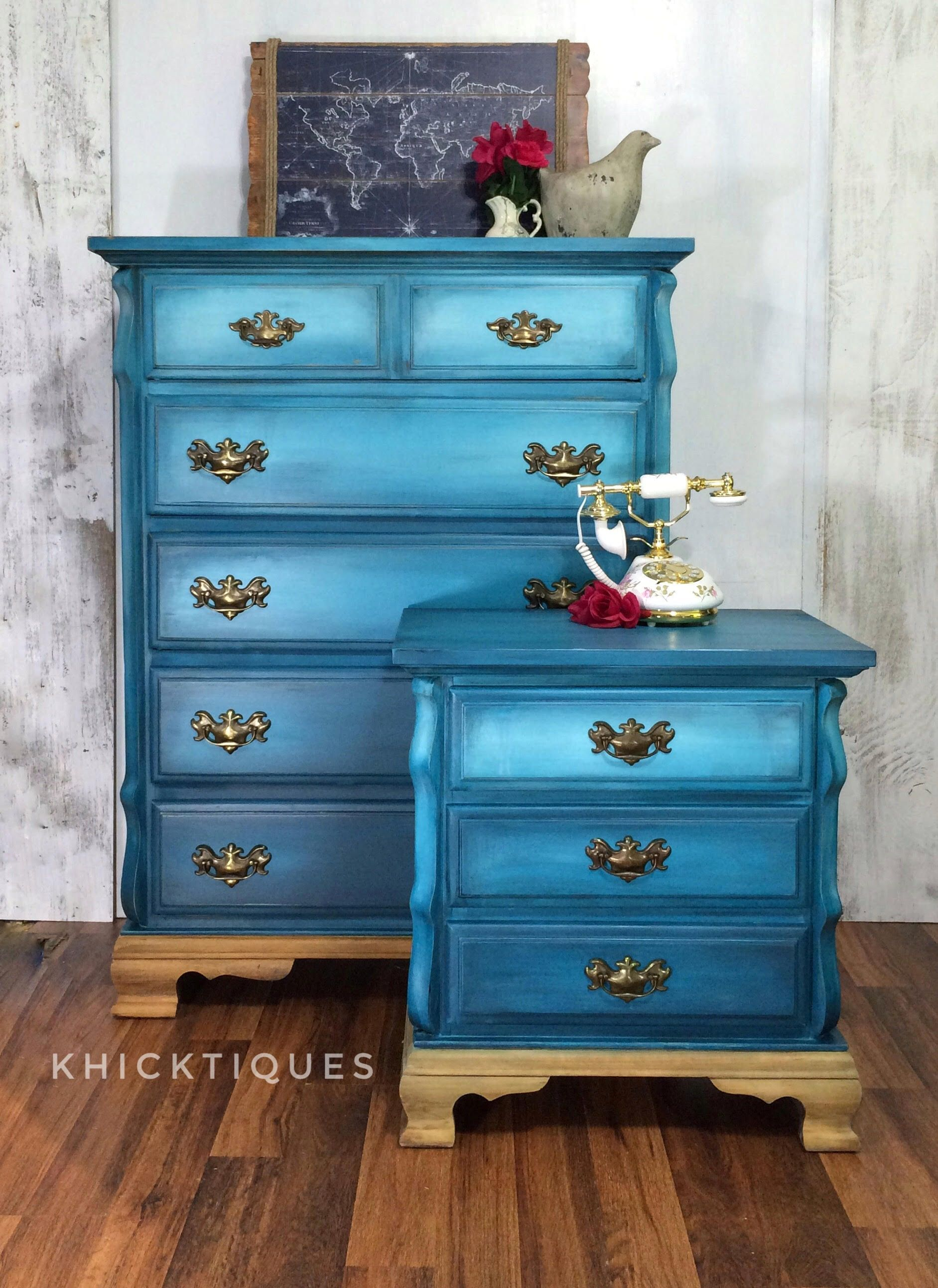 Ombre Prussian Blue Dresser And Nightstand Painted By Khicktiques Redo Furniture Furniture Refinishing Furniture [ 2584 x 1883 Pixel ]