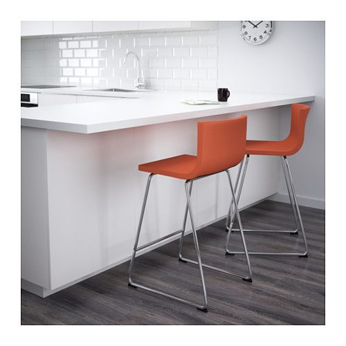 Kitchen Stools Ikea Commercial Faucets Bernhard Chairs For Westhills Bar Stool With Backrest Chrome Plated Mjuk Orange