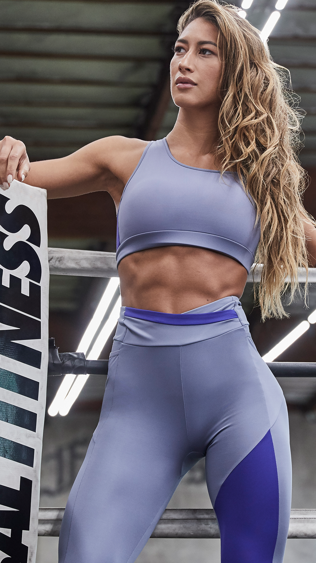 Blue Waves Workout Exercise Fitness Gym Sports Bra
