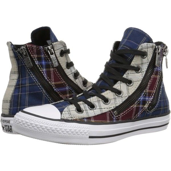 50a5d76efe6 Converse Chuck Taylor All Star Dual Zip Plaid Hi Women s Lace up... ( 70) ❤  liked on Polyvore featuring shoes