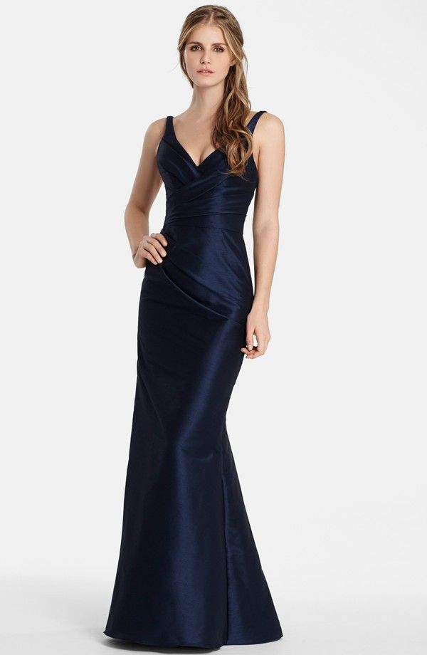 super elegent and architectural- like this one a lot- and raw silk so will photograph well. V-Neck Draped Dupioni Trumpet Gown