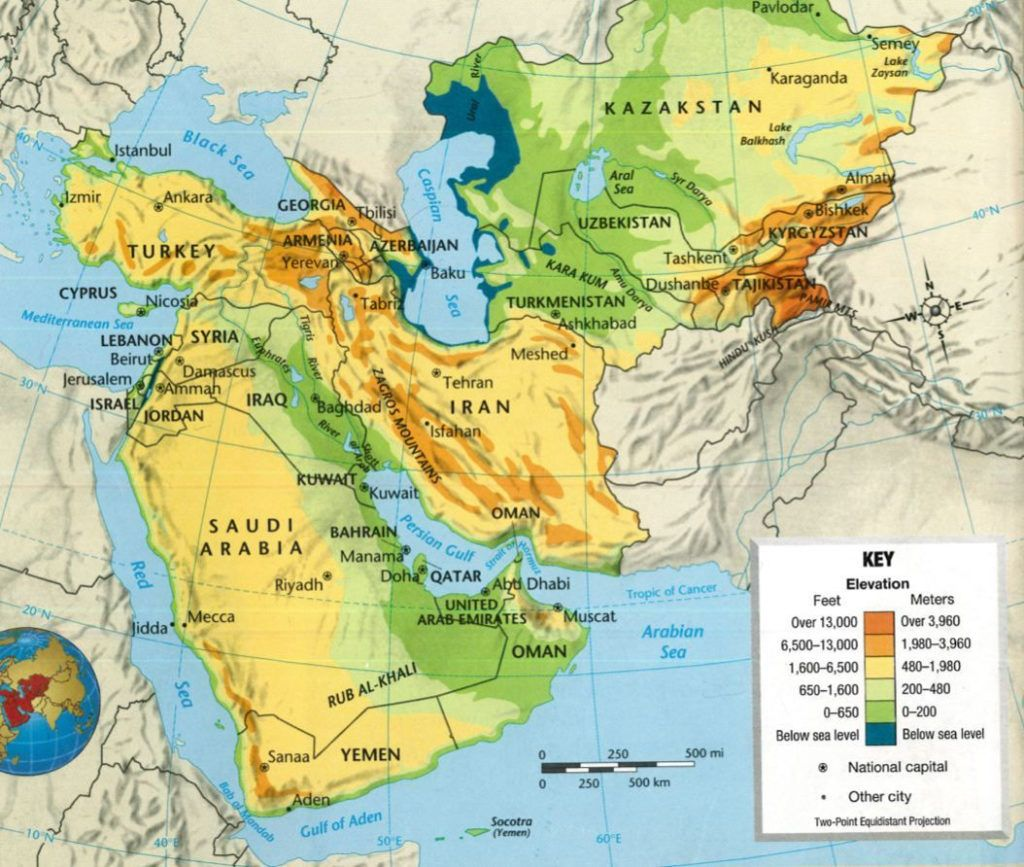 South West Asia Physical Map With Of Southwest Features