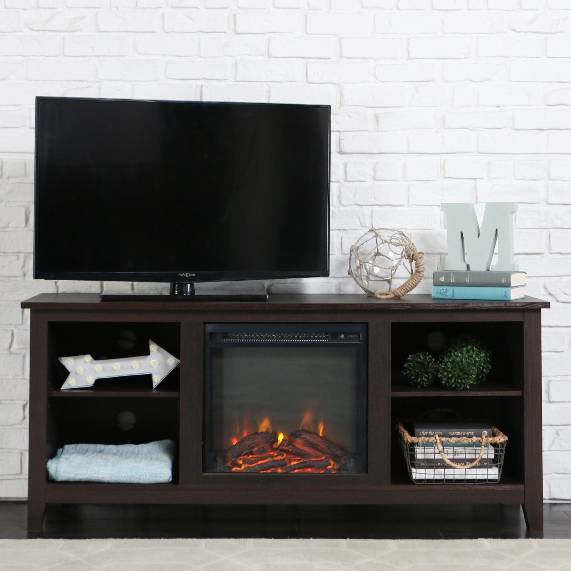 Console With Electric Fireplace In Espresso 58 Espresso Wood Tv  # Cheminee Electrique Meuble Tele