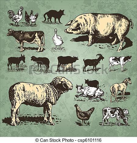 Vintage Clip Art Animal Stock Clip Art Icon Stock Clipart Icons Logo Line Art Farm Animals Animal Drawings Vintage Farm