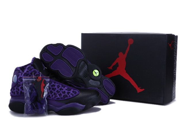 new product 9c668 6cfb4 Men Air Jordan 13 Retro Shoes 44 Black Purple Leopard