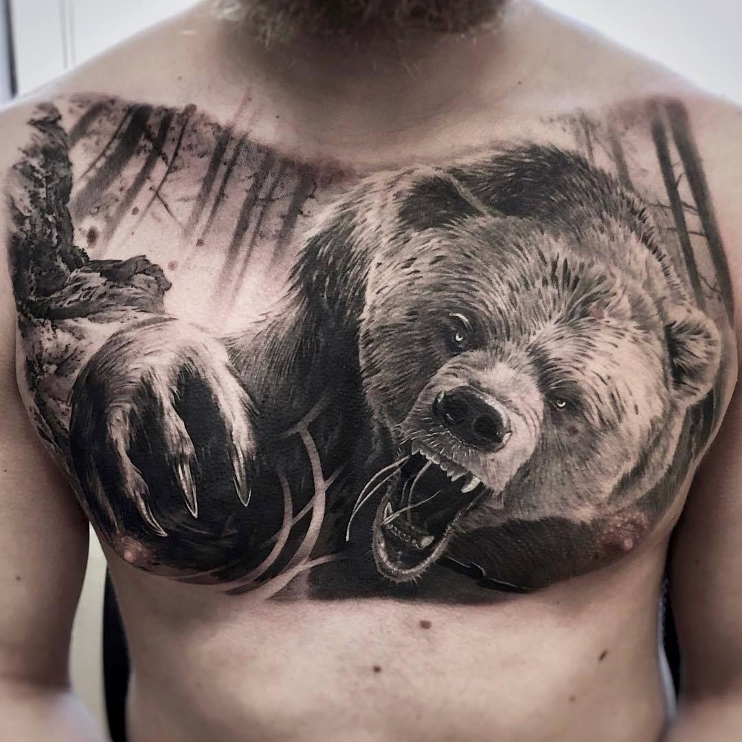 картинки медведя для тату мужские