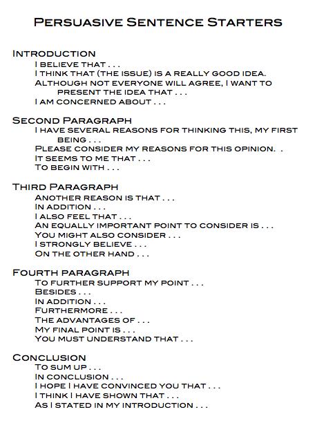 image result for persuasive sentence starters