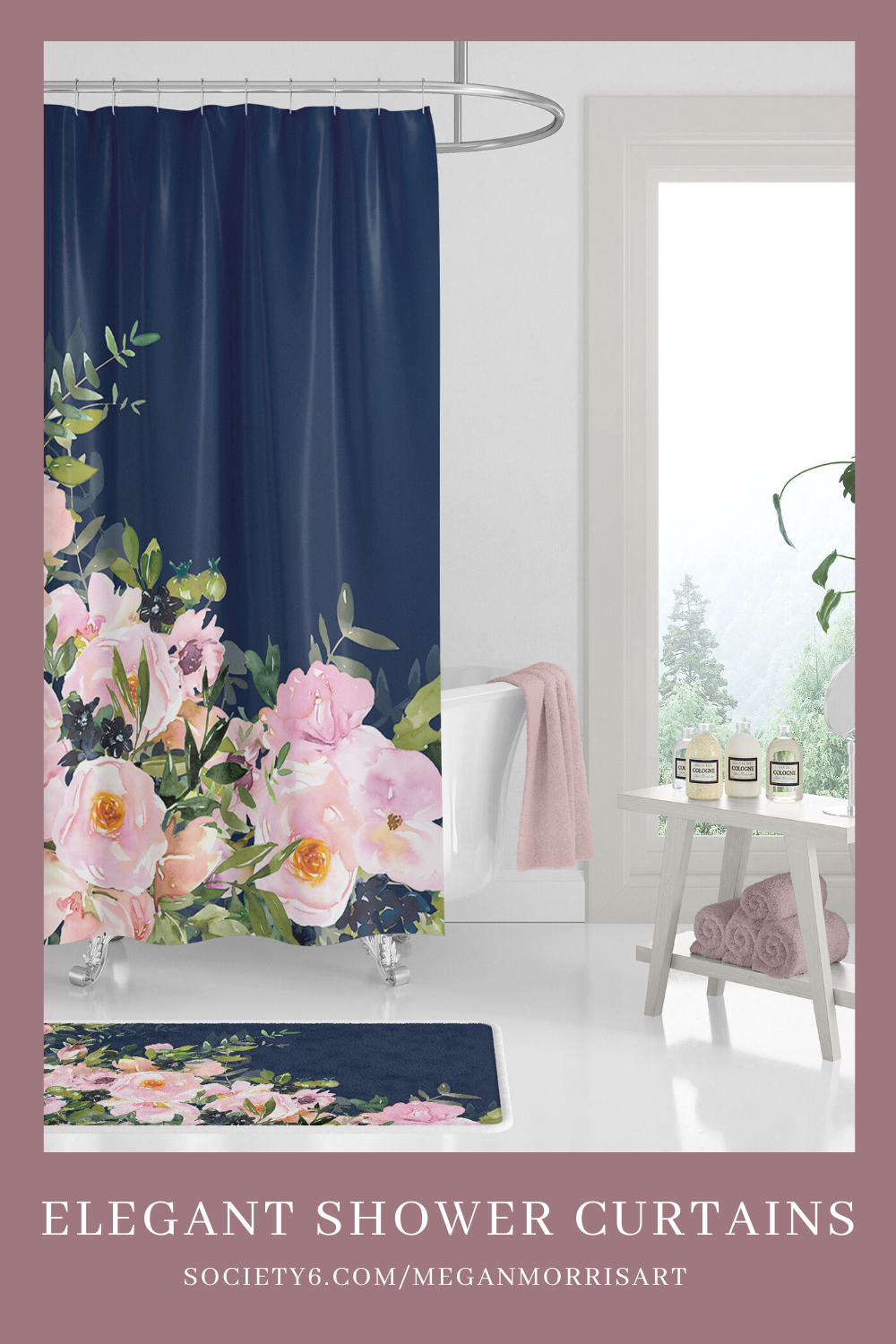 Pretty Bathroom Ideas Pink And Navy Shower Curtain Floral