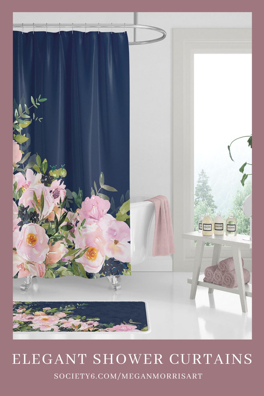 pink shower curtains floral bathroom