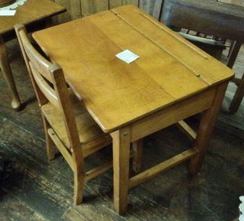 Vintage Circa 1900 S 1950 Flip Top Solid Wood Student School Desk