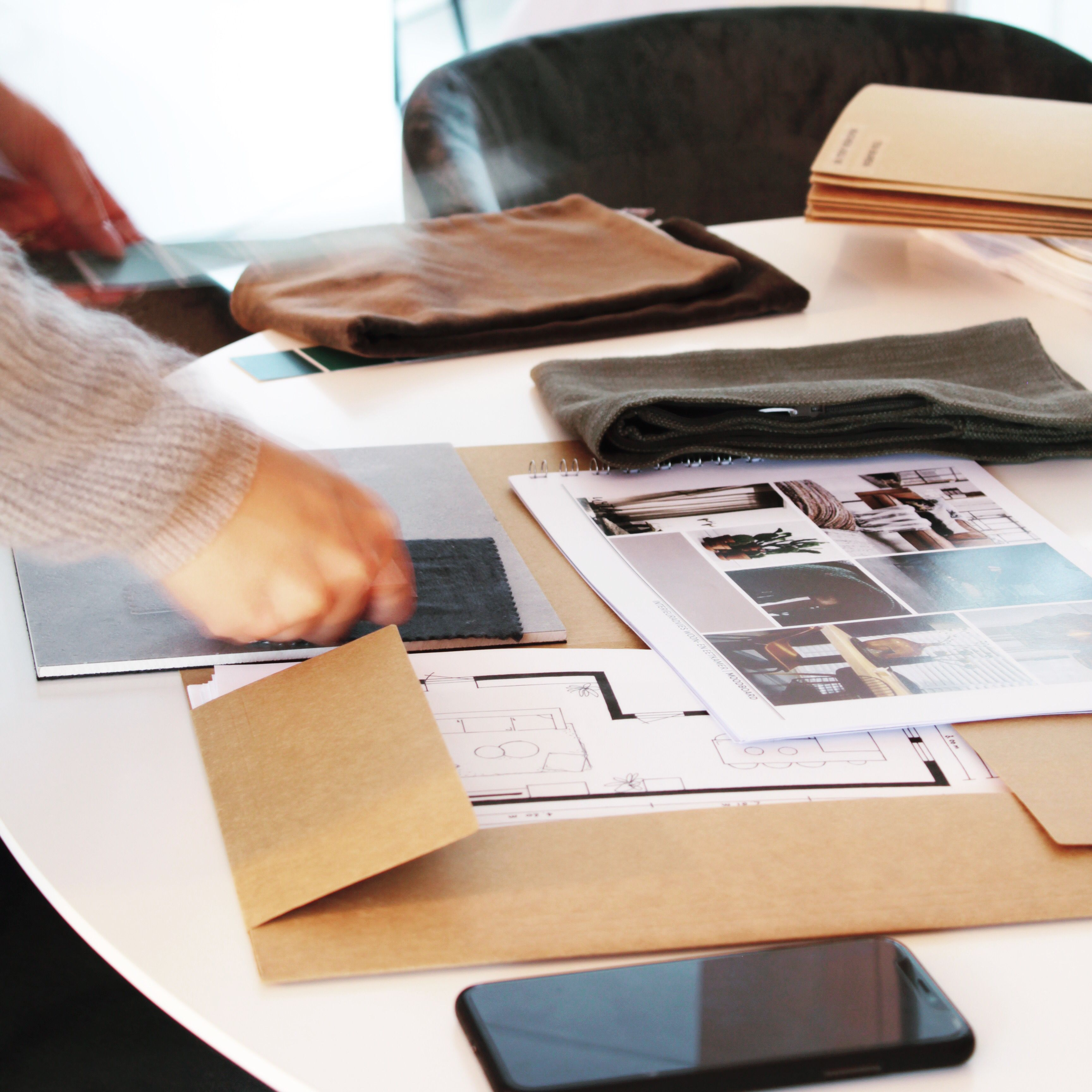 Kleuren en materialen verzamelen voor een interieuradvies