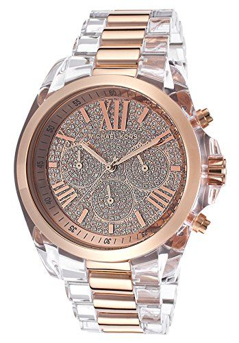 10084e2913949 Michael Kors Bradshaw Chronograph Rose Crystal Pave Dial Transparent Resin  and Gold-tone Ladies Watch MK5905