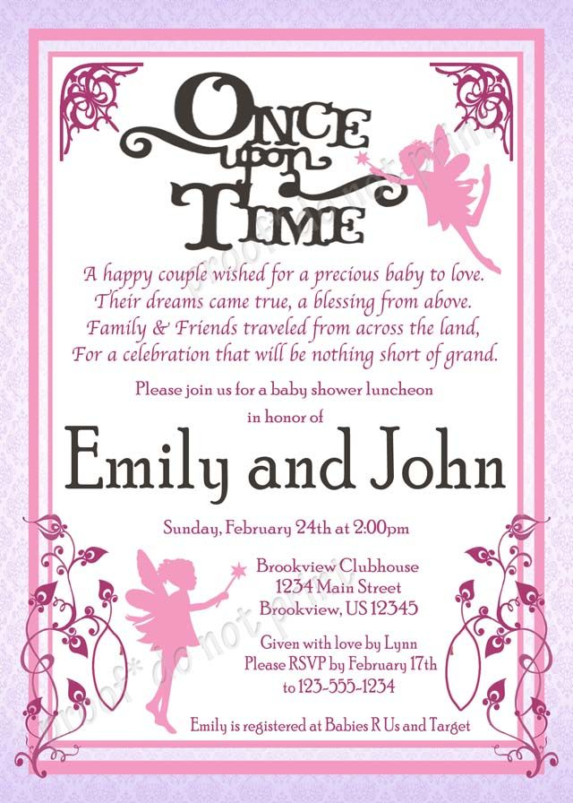 Once Upon A Time Baby Fairy Tale Shower Invitations Colors And Fonts Customizable