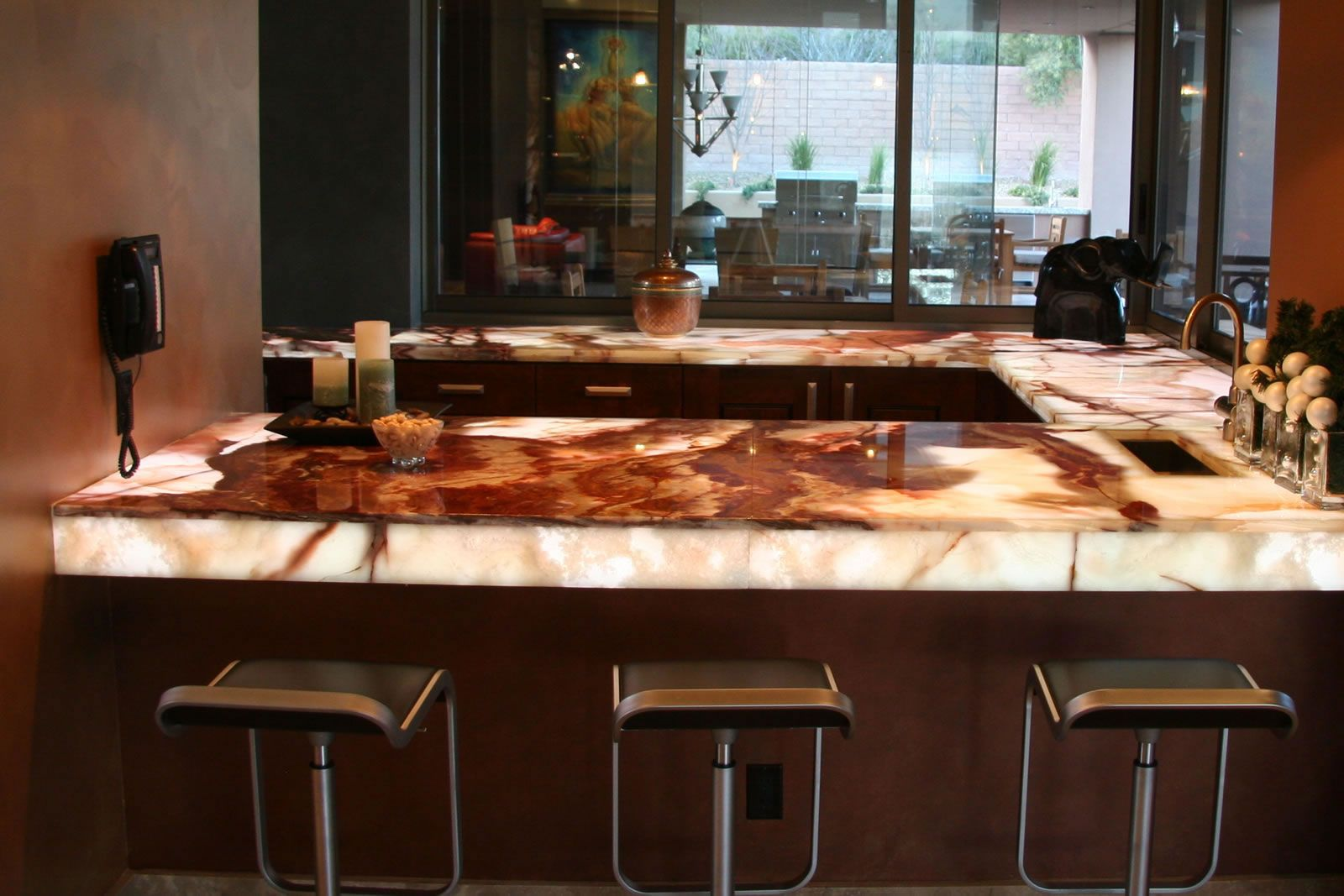 how to light onyx countertop | onyx countertop project | booth