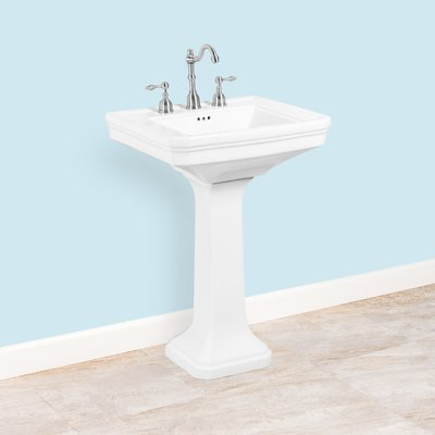 Winfield Products Ceramic 24 Pedestal Bathroom Sink With Overflow