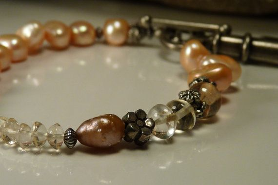 Golden Pearls & Citrine with Silver-toned Flower Beads & a Very Cool Key Toggle Clasp Bracelet by ksyardbird, $18.00