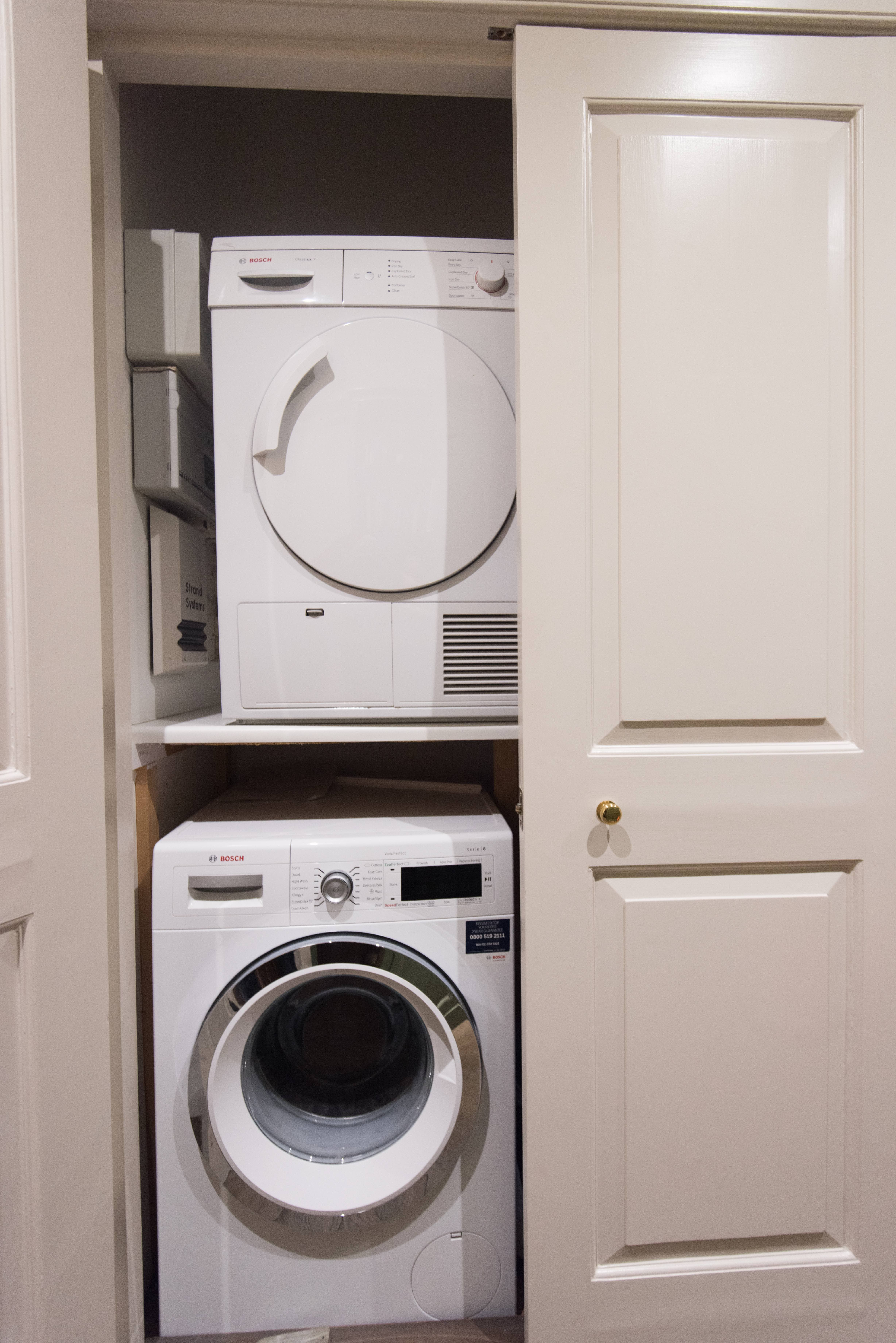 The Corridor Cupboards Were Re Painted And Re Purposed To Conceal The Washing Machine Tumble Dryer Water Softener And Fu Washer And Dryer White Washer Washer