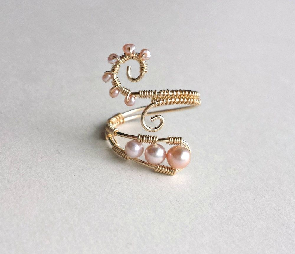 Pink Pearl Wire Ring, Pink Gold Ring, Wire Wrapped Ring, Pink ...