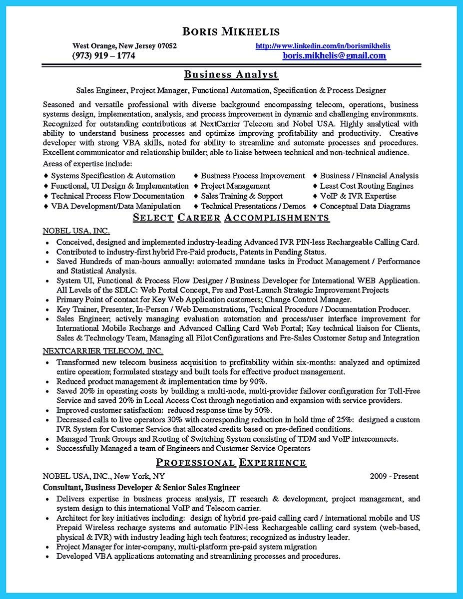 Business Analyst Resume Examples Nice Create Your Astonishing Business Analyst Resume And Gain The