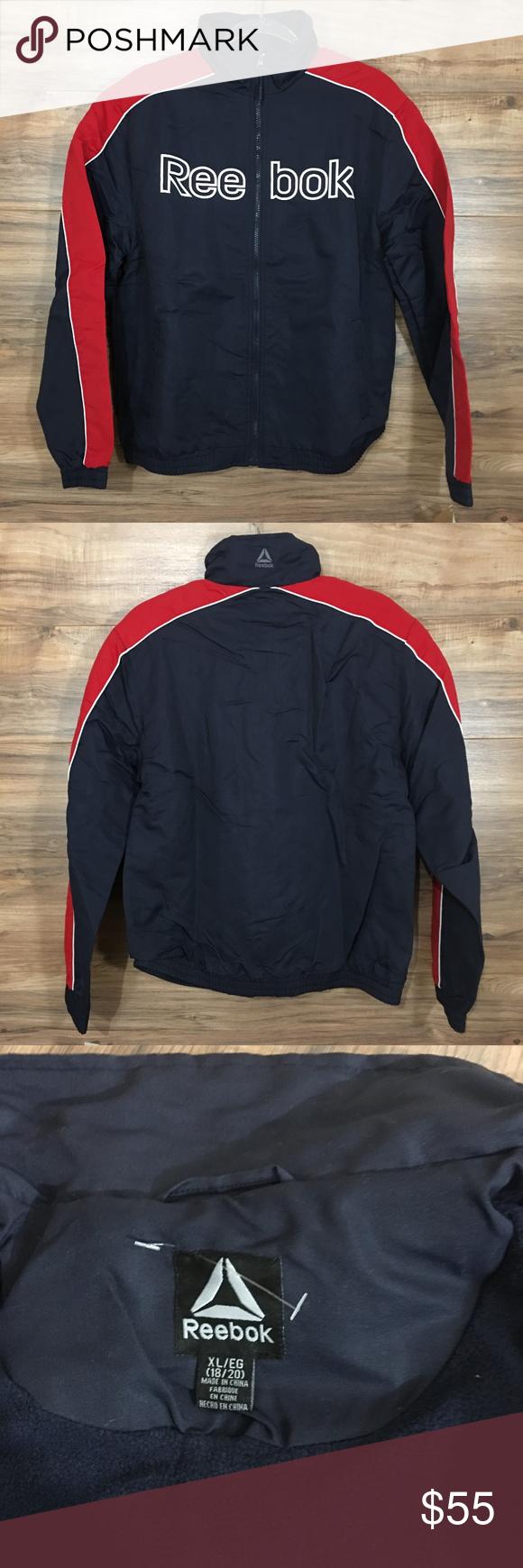 Reebok Boys Navy Blue Red Winter Jacket Size Xl Winter Jackets Trendy Dresses Clothes Design [ 1740 x 580 Pixel ]