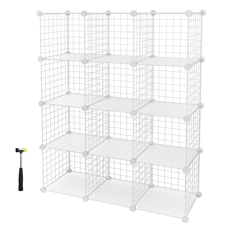 1e82557a0d64 SONGMICS 16 Cube Metal Wire Storage Organiser, DIY Closet Cabinet ...
