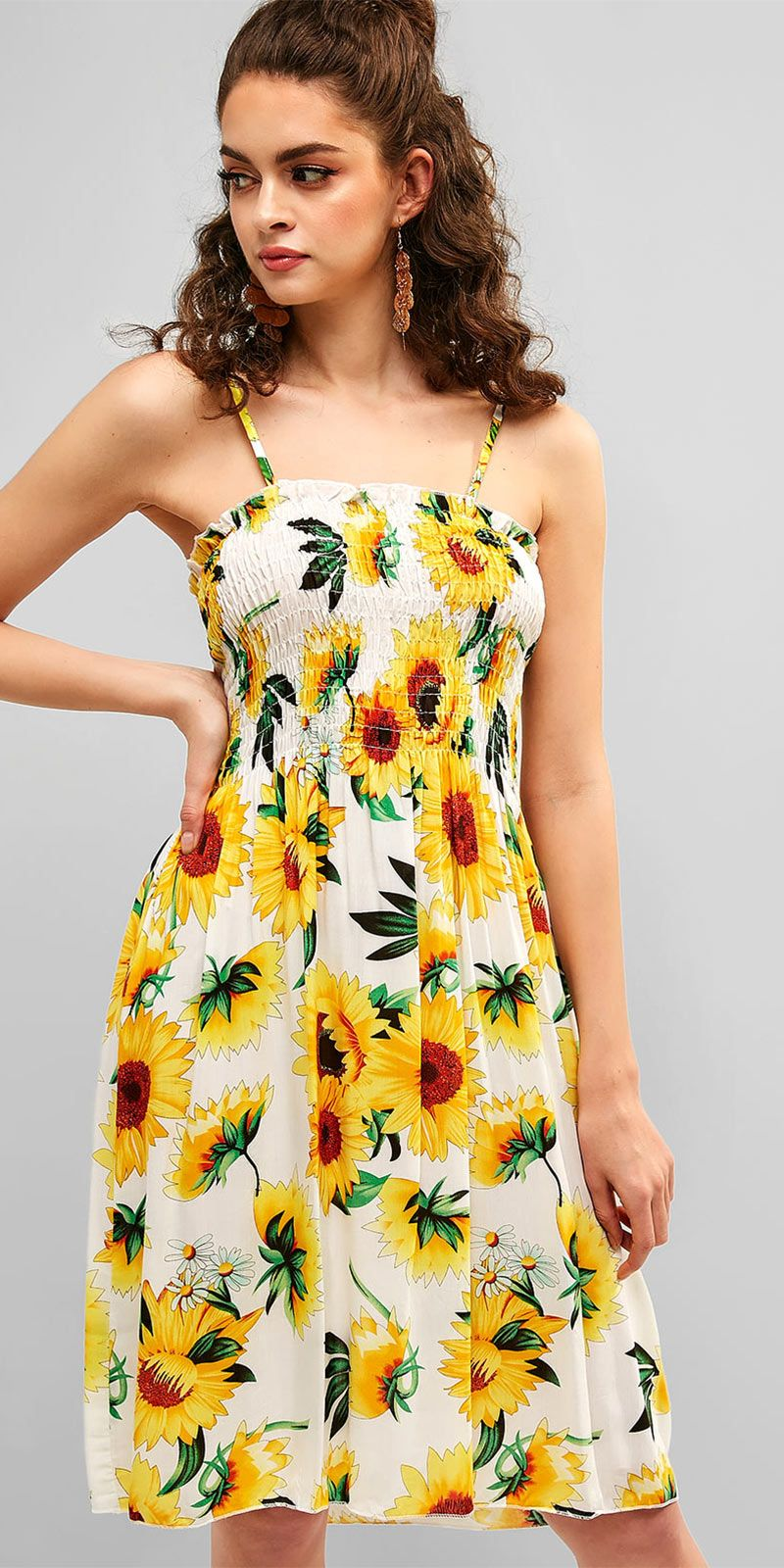 Burning Sunflower Summer Dress Holiday Sundress Yellow Summer Dresses Shirred Dress White Mini Dress [ 1600 x 800 Pixel ]