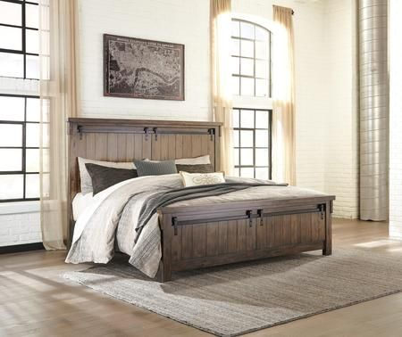 Lakeleigh Collection B718 58 56 94 California King Size Bed With Faux Barn Door Panels Accenting