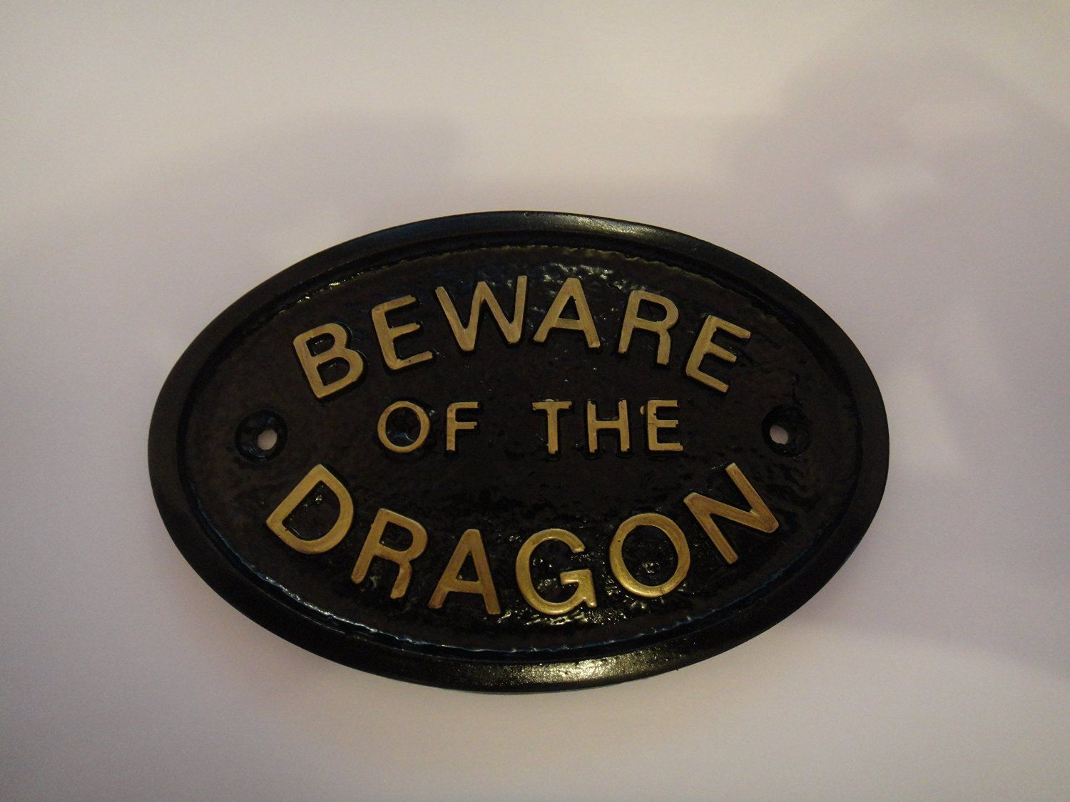 "/""BEWARE OF THE DRAGON/"" HOUSE DOOR PLAQUE WALL SIGN GARDEN BLACK//GOLD LETTERS"