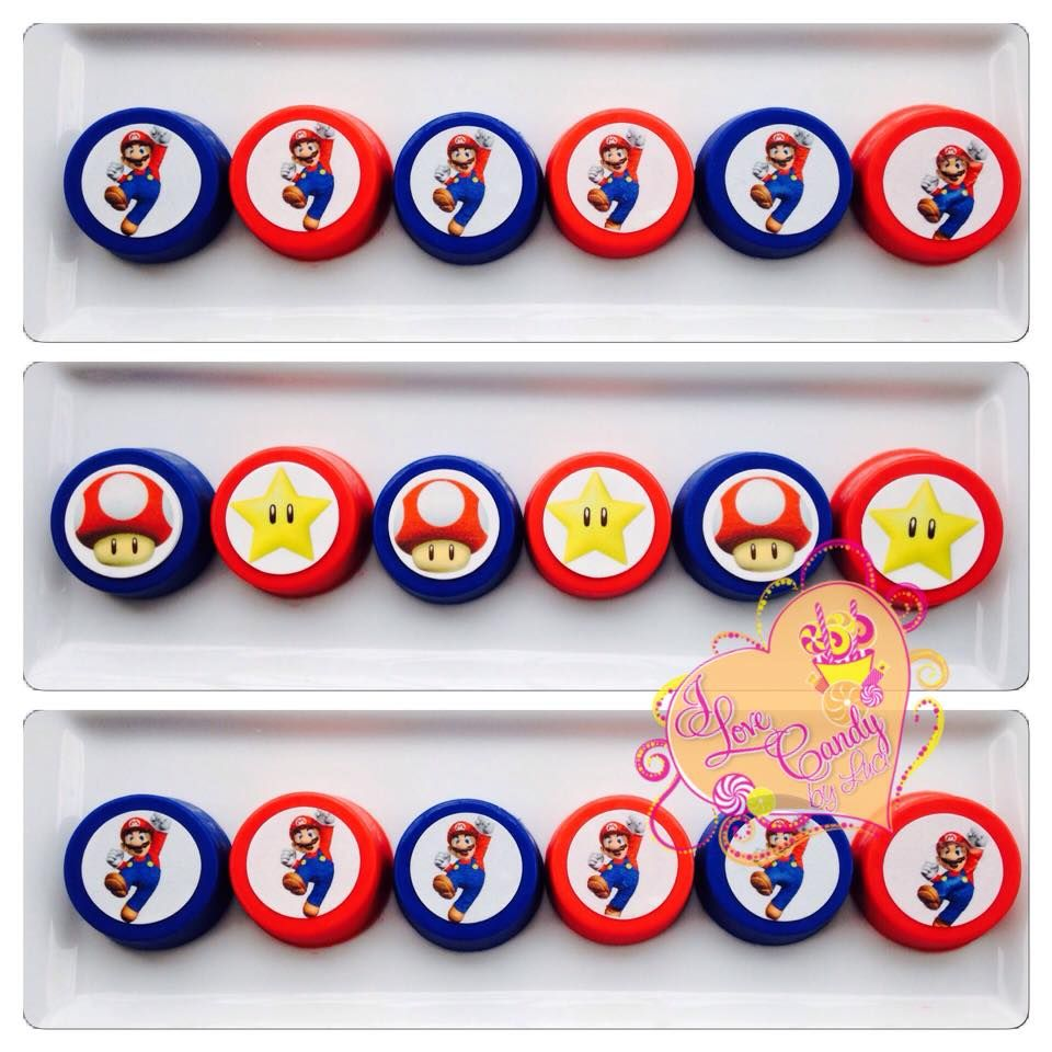 Candybyluci.wix.com/candyapple #candybyluci #ilovecandybyluci #edibleimages #chocolateoreos #supermariobros #supermario #partyfavors #supermarioparty