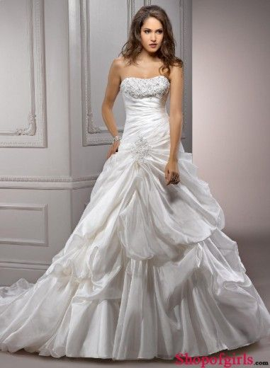 Modern A-Line Ruffles Sleeveless Sweetheart Empire Taffeta #wedding #dress