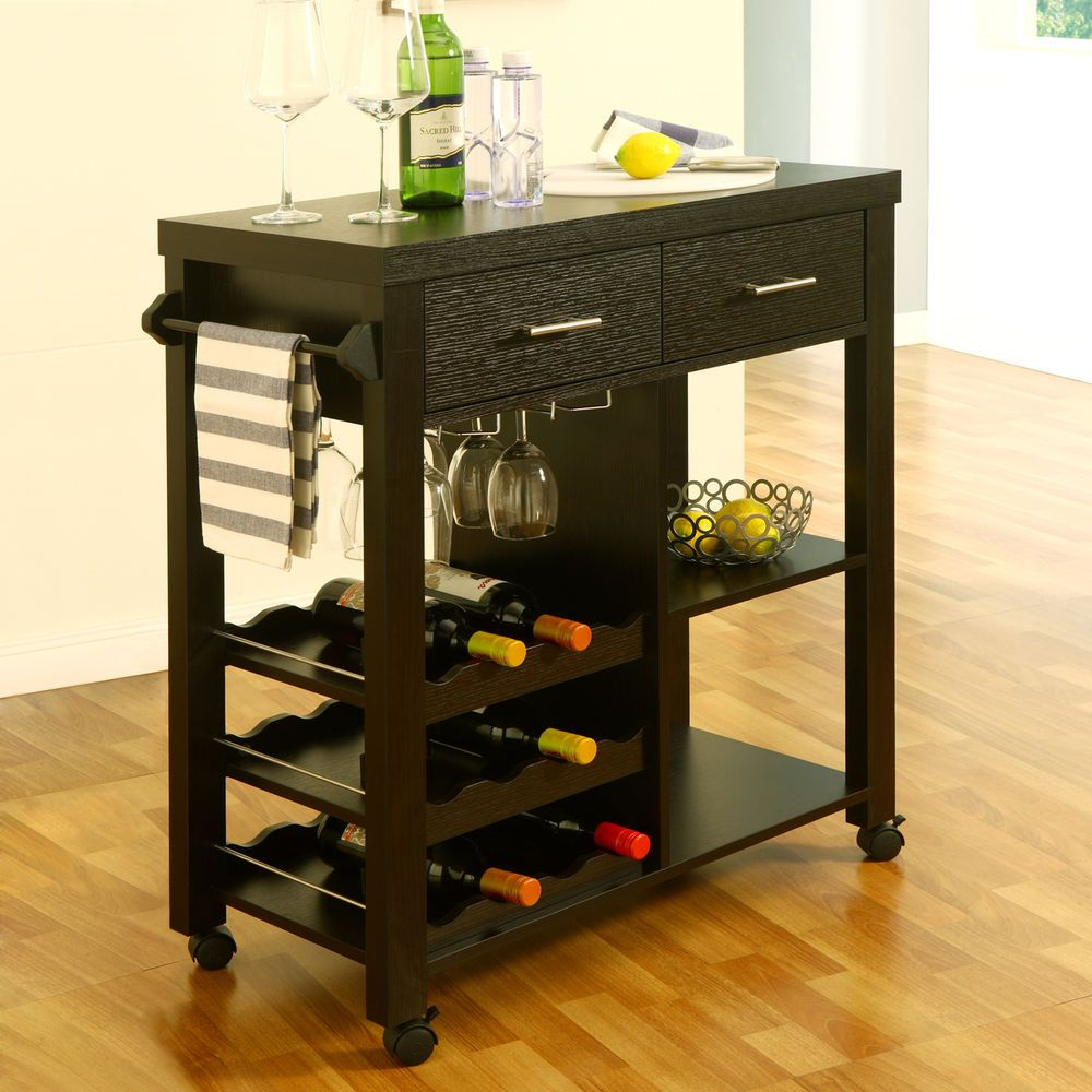 Enitial Lab IDI-12581 Franklen Mobile Kitchen Bar Cart with Drawer ...