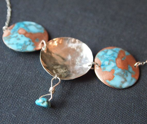 Sterling Silver and Patina Copper Choker with by BlueVoidDesigns