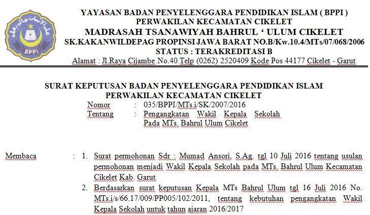 Download Contoh Surat Keputusan Pengangkatan Wakil Kepala