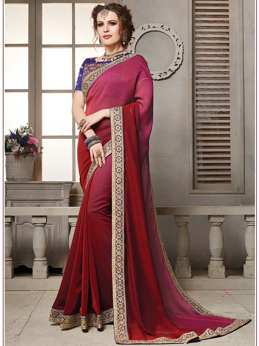 2aa638c5fa #Prominent maroon satin silk saree with resham, zari work patch border is  #representing