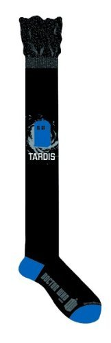 Doctor Who Black Tardis Over the Knee Socks Doctor Who. $9.99. Doctor Who socks are officially licensed.. 72% acrylic, 26% polyester and 2% spandex.. Sold as a pair.. Fits most shoe sizes 4-10.. Features extra stretch material at the top of sock.
