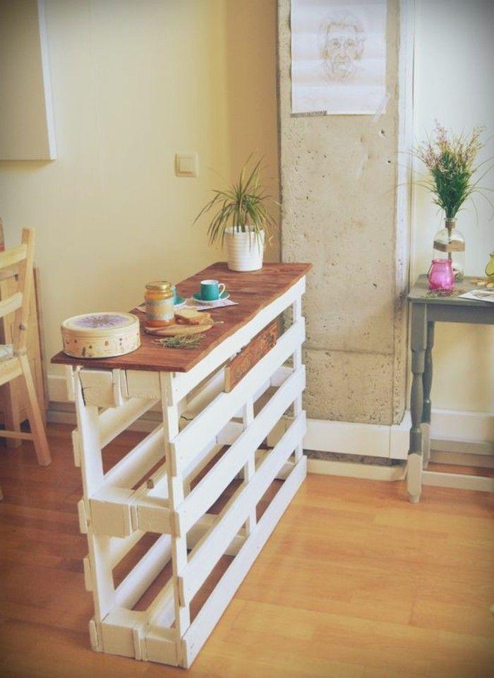 Muebles reciclados bar de palets para comer en la cocina for Bar hecho en madera