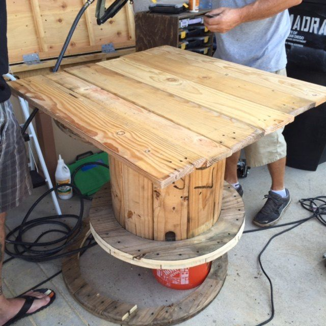 How to Make an Old Cable Spool into a DIY Table #cablespooltables I Had A Vision For This Old Cable Spool #cablespooltables