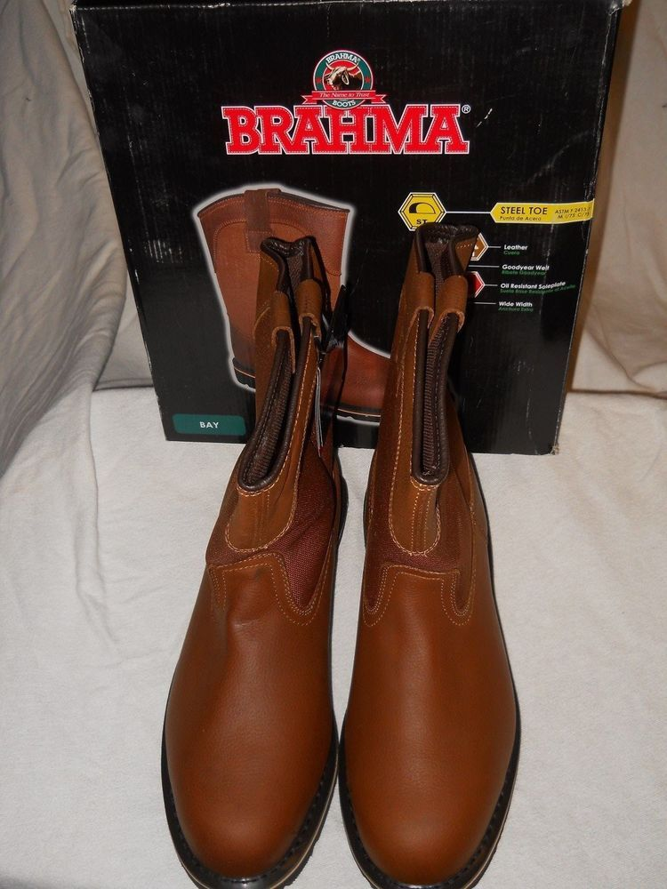 20dffb8debc Brahma Brown Leather Steel Toe Work Boots Mens Size 14 Wide Pull On ...