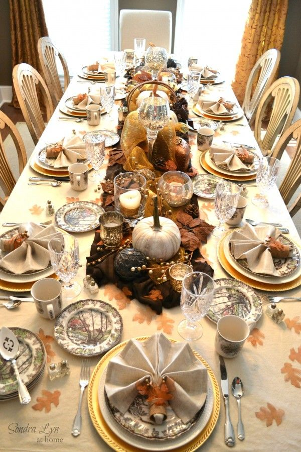 Rustic glam fall tablescape thanksgiving