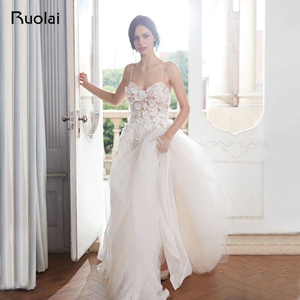 Boho Wedding Dress 2019 A Line Sweetheart Summer Beach Wedding Gown Long Floral Beaded Bridal Gown Vestido D Bridal Gowns Wedding Dress Organza Wedding Dresses [ 1000 x 1000 Pixel ]