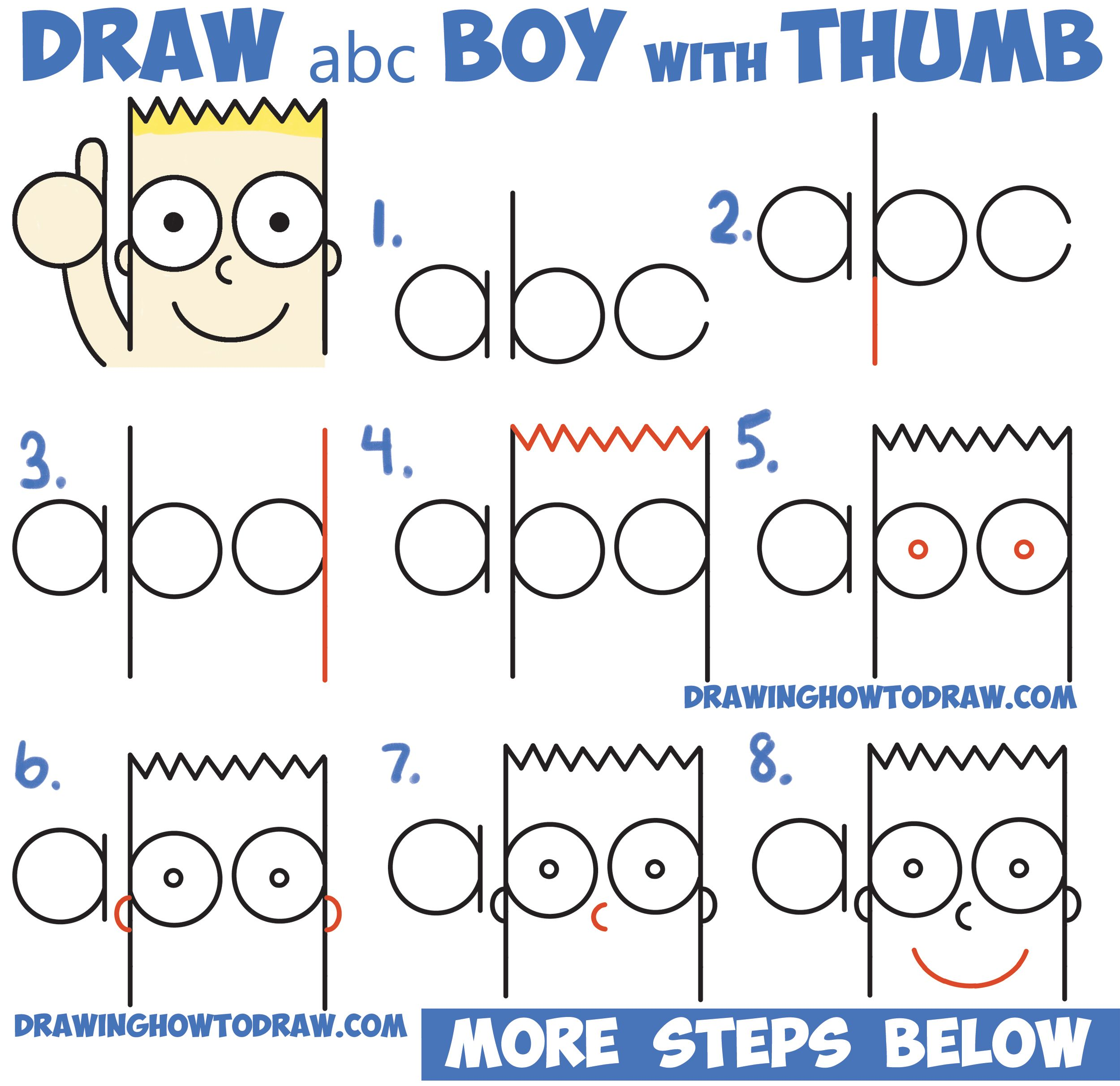 """Complete umbrella drawing in just 9 easy steps! How to Draw Cute Cartoon Boy / Kid With Thumb Up from """"abc ..."""
