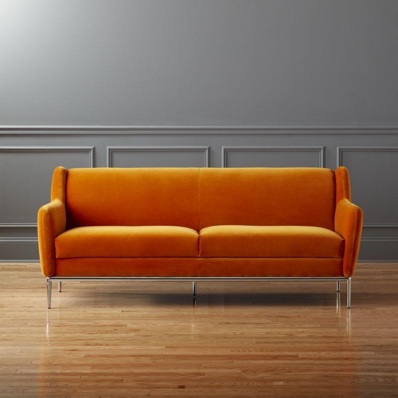Shop Alfred Orange Velvet Sofa Warm Velvety Cotton Stuns On This Lo