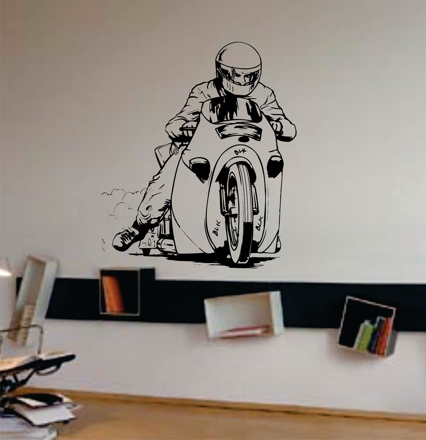 Removable wall art graphic - Dragster Bike Decal Sticker Wall Art Graphic Race By Dabbledown 28 00