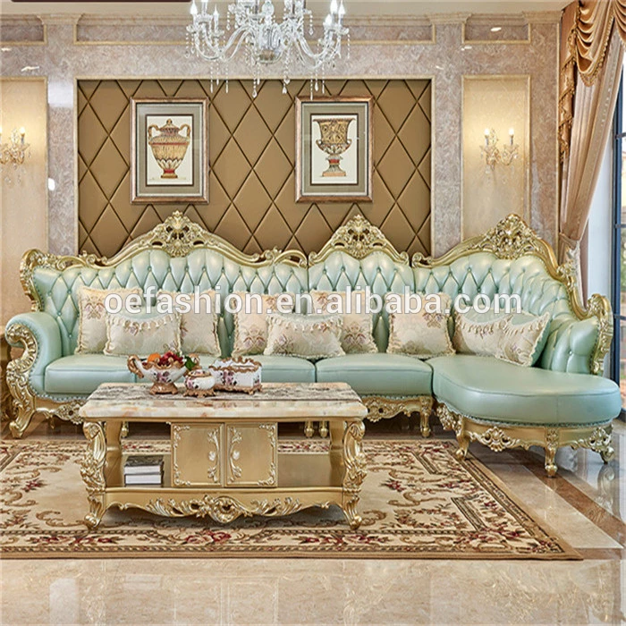 Oe Fashion Foshan Factory Golden Wooden Frame Light Green Leather Classic And Modern Corner L Shape Sofa Set View L Shape Sofa Set Oe Fashion Product Details In 2020 L Shaped Sofa L