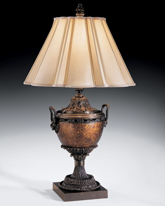 Attractive Table Lamp With Urn Motif In Antiqued Crackled Gold Finish And Lion Head  Stylized Arms. Table Lamp Has A Bronze Trim And Round Scalloped Piped  Fabric Shade