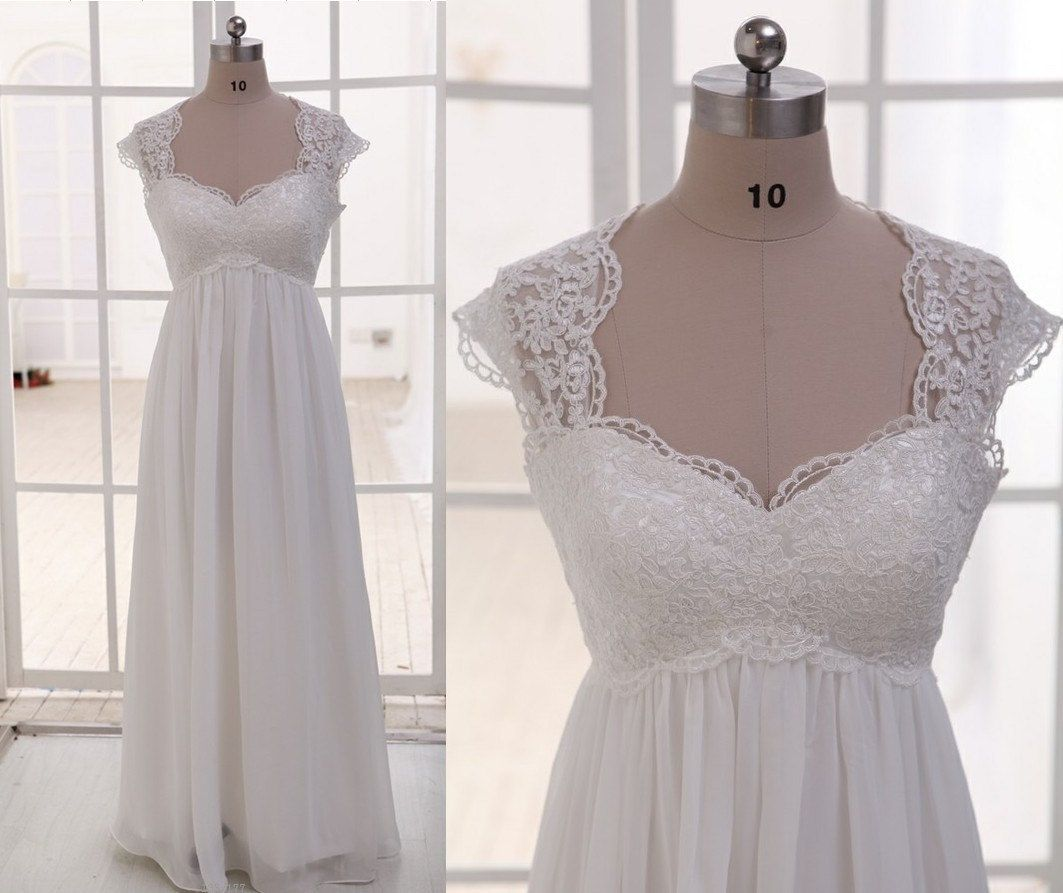 Lace chiffon wedding dress cap sleeves empire waist maternity dress