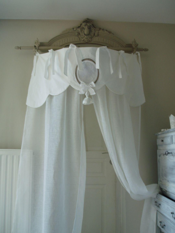 rideau ciel de lit en linge ancien et voile de lin. Black Bedroom Furniture Sets. Home Design Ideas