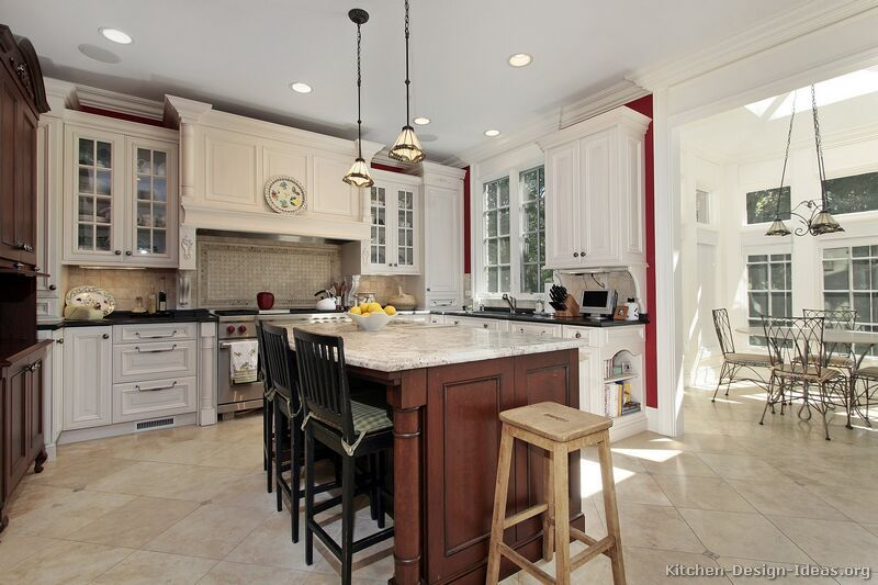 #Kitchen Of The Week: A Traditional White Kitchen With A Dark Cherry Island  (Kitchen Design Ideas.org)