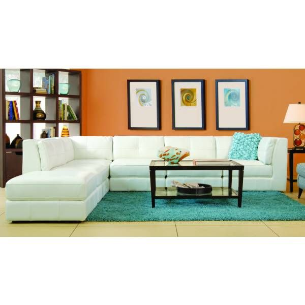 Penthouse 6 Piece Leather Sectional Cream Living Room